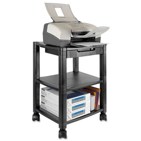 Kantek PS540 Desk Side 3-Shelf Moblie Printer/Fax Stand KTKPS540, Black (UPC:750333635409)