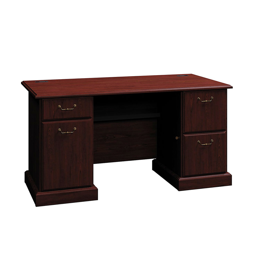 Bush Business Furniture Syndicate Collection 60W Double Pedestal Desk in Harvest Cherry ; UPC: 042976609610 ; Image 1
