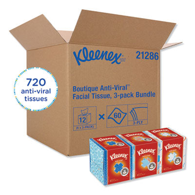 Kleenex Anti-Viral 3-Ply Facial Tissues - 12 Boxes with 60 Tissues/Box (720 Total Tissues)
