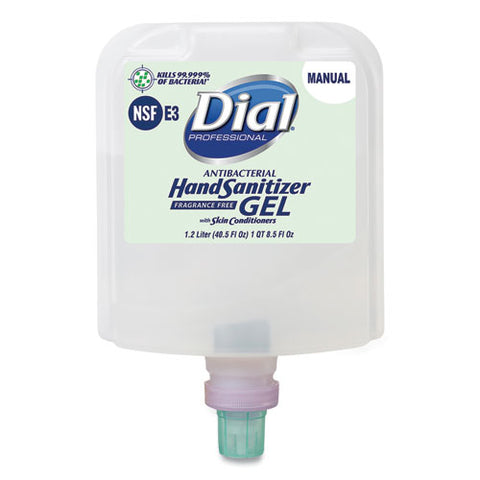 Dial Professional Dial 1700 Manual Refill Antibacterial Gel Hand Sanitizer, Fragrance-Free, 1.2 L, 3/Carton DIA19708