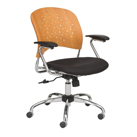 Safco Products Reve Task Chair Round Plastic Wood Back 6809NA(Image 1)