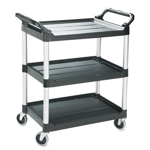 Rubbermaid Commercial Three-Shelf Service Cart RCP342488BLA,  (UPC:086876159509)