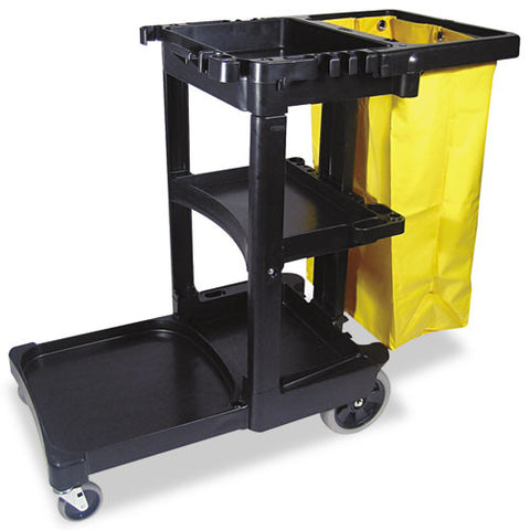 Rubbermaid Commercial Multi-Shelf Cleaning Cart RCP617388BK,  (UPC:008687612301)
