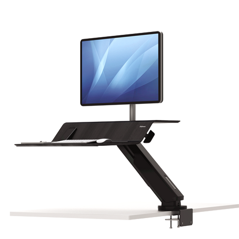 Fellowes Lotus™ RT Sit-Stand Workstation Black Single ; UPC 043859735822