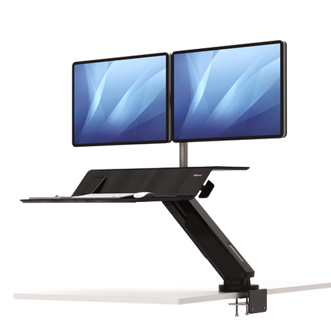 Fellowes Lotus™ RT Sit-Stand Workstation Black Dual ; UPC 043859735839