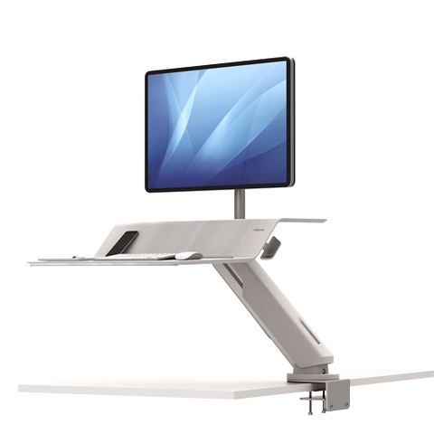 Fellowes Lotus™ RT Sit-Stand Workstation White Single ; UPC 043859737031