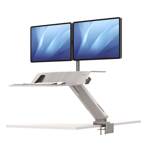 Fellowes Lotus™ RT Sit-Stand Workstation White Dual ; UPC 043859737048