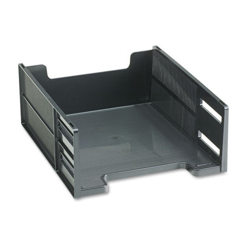 Rubbermaid Stackable Front-Loading Letter Tray RUB17671, Black (UPC:030402176713)