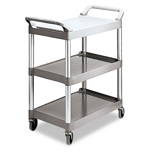 Rubbermaid 3-Shelf Utility Service Cart RCP342488PM, Silver (UPC:086876159493)