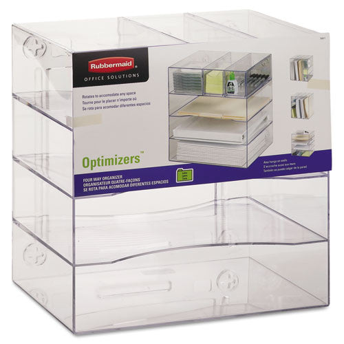 Rubbermaid Optimizer Four-Way Organizer with Drawers RUB94600ROS, Clear (UPC:030402946002)