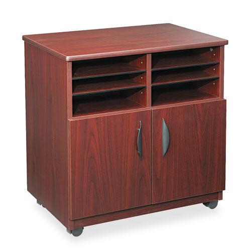 Safco Mobile Machine Stand with Sorter SAF1851MH, Mahogany (UPC:073555185126)