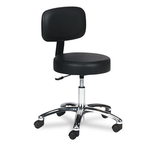 Safco 3430BL Pneumatic Lab Stool With Back SAF3430BL, Black (UPC:073555343021)