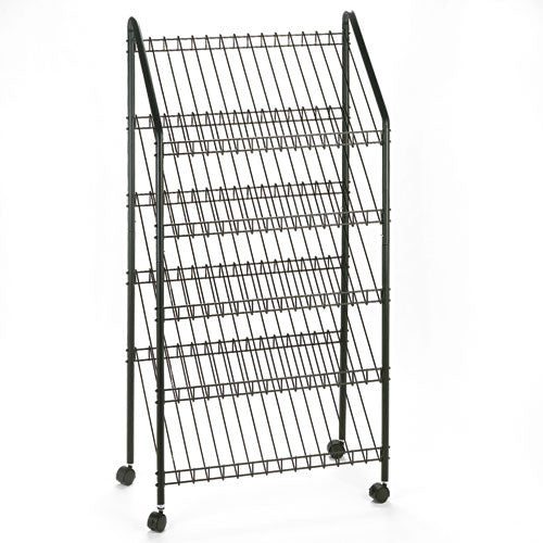 Safco Mobile Litreature Display Rack SAF4129CH, Black (UPC:073555412901)
