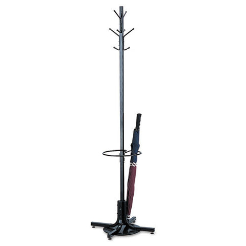 Safco Freestanding Costumer with Umbrella Stand ; (073555416824); Color:Black