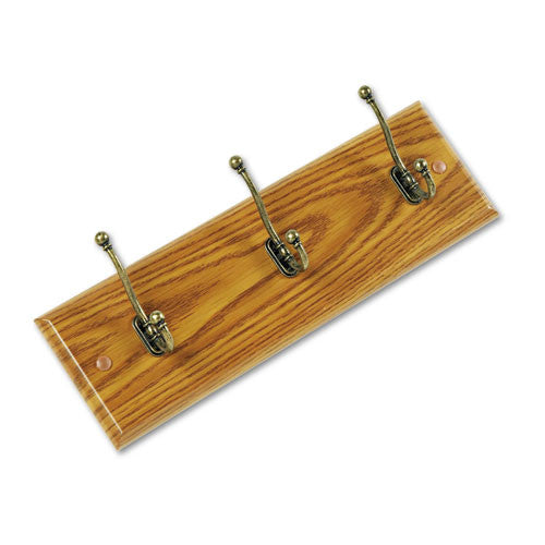 Safco 3-Hook Wood Wall Racks ; (073555421606); Color:Oak Base,Brass Hook