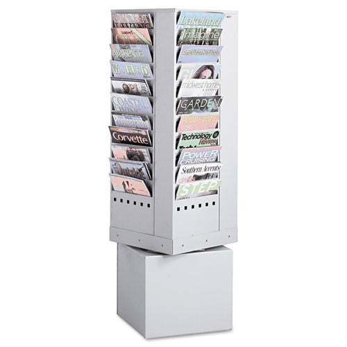 Safco 44 Pockets Steel Rotary Magazine Rack SAF4324GR, Gray (UPC:073555432435)