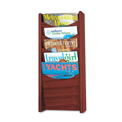Safco 5-Pocket Wood Magazine Rack SAF4330MH, Mahogany (UPC:073555433029)