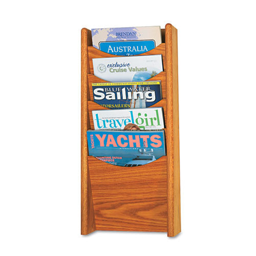Safco 5-Pocket Wood Magazine Rack SAF4330MO,  (UPC:073555433005)