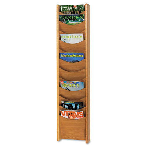 Safco 12 Pocket Wall Mount Literature Display SAF4331MO, Oak (UPC:073555433104)