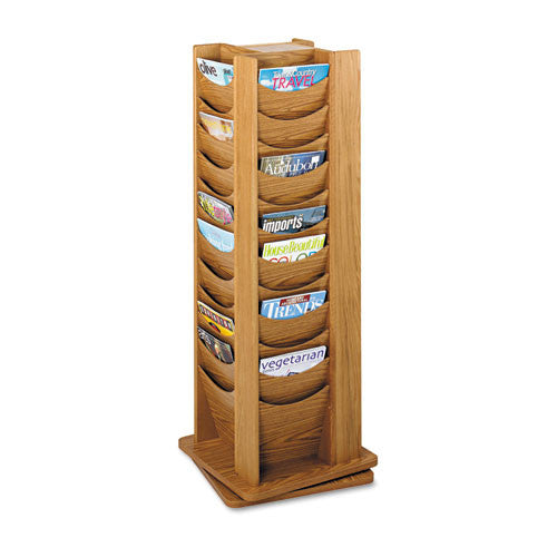 Safco Rotating Wood Display SAF4335MO, Brown (UPC:073555433500)