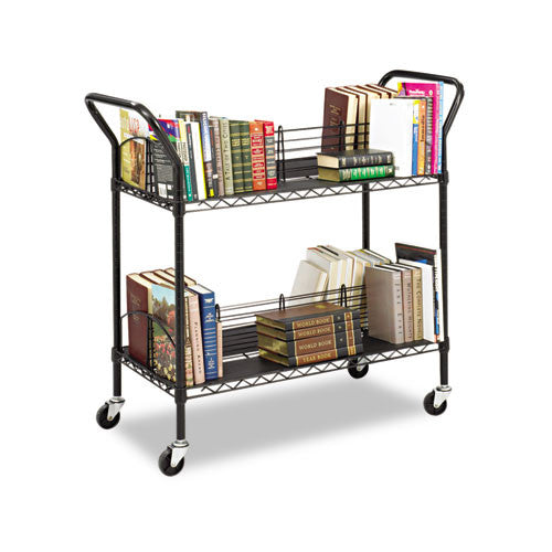Safco Double Sided Wire Book Cart SAF5333BL, Black (UPC:073555533323)
