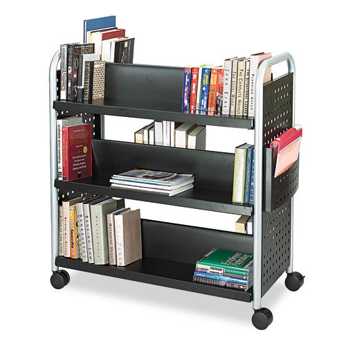 Safco Scoot Double Sided Book Cart SAF5335BL, Black (UPC:073555533521)