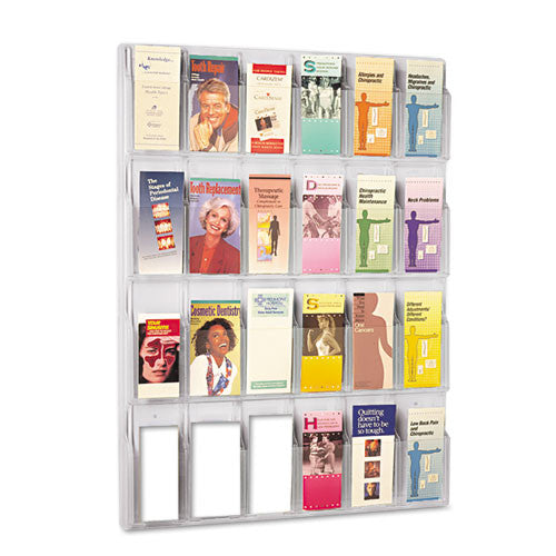 Safco 24 Pamphlet Pockets Display Rack SAF5601CL, Clear (UPC:073555560107)