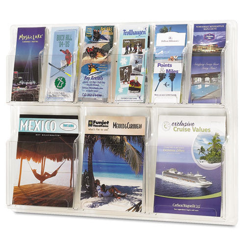 Safco 6-Pamphlet and 3-Magazine Literature Display Rack SAF5605CL, Clear (UPC:073555560503)