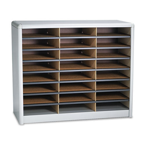 Safco 24 Compartments Value Sorter Literature Sorter SAF7111GR, Gray (UPC:073555711134)