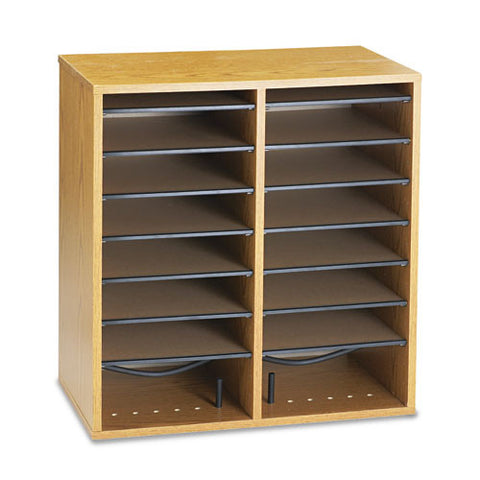 Safco 16 Compartments Adjustable Shelves Literature Organizer SAF9422MO, Oak (UPC:073555942200)