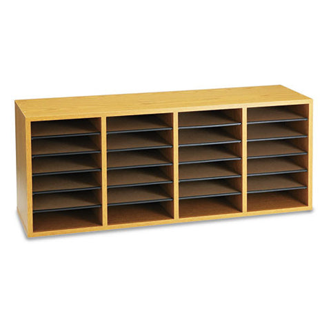 Safco 24 Compartment Adjustable Shelves Literature Organizer SAF9423MO, Oak (UPC:073555942309)
