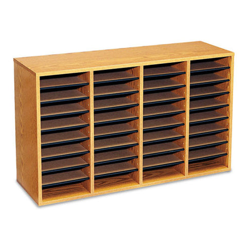 Safco 36 Compartment Adjustable Shelves Literature Organizer SAF9424MO, Oak (UPC:073555942408)