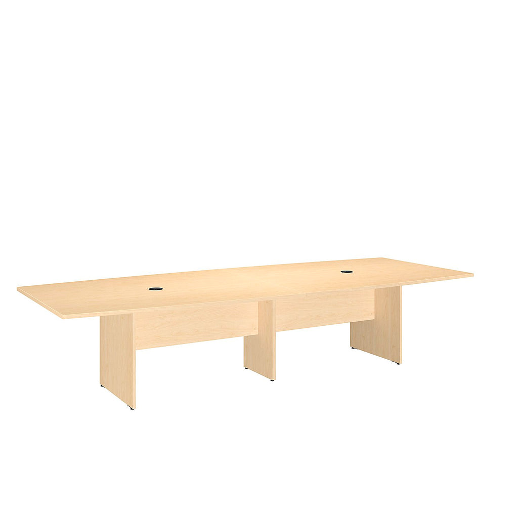 Bush Business Furniture 120L x 48W Boat Top Conference Table with Wood Base in Natural Maple ; UPC:042976505608 ; Image 1