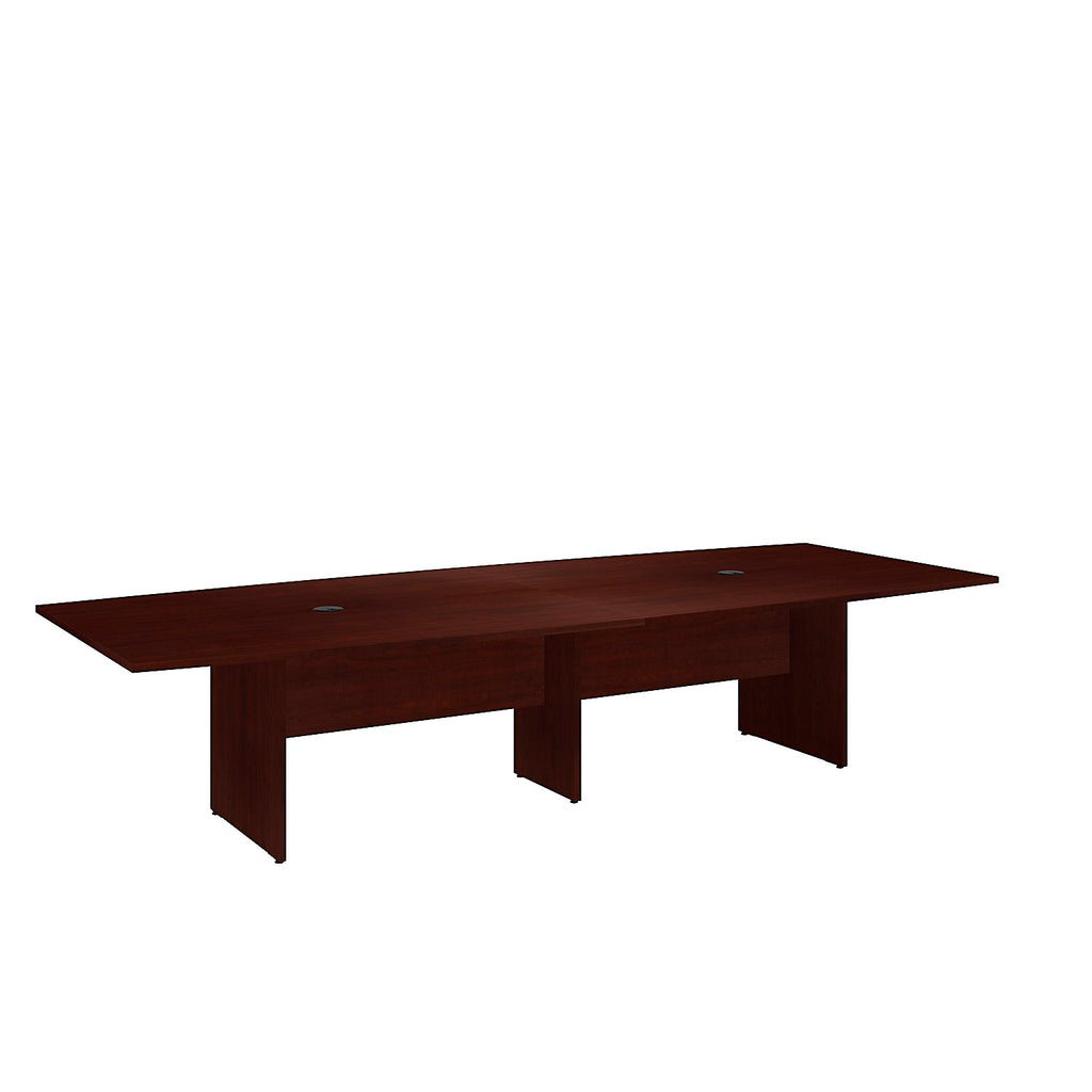 Bush Business Furniture 120L x 48W Boat Top Conference Table with Wood Base in Harvest Cherry ; UPC:042976504960 ; Image 1