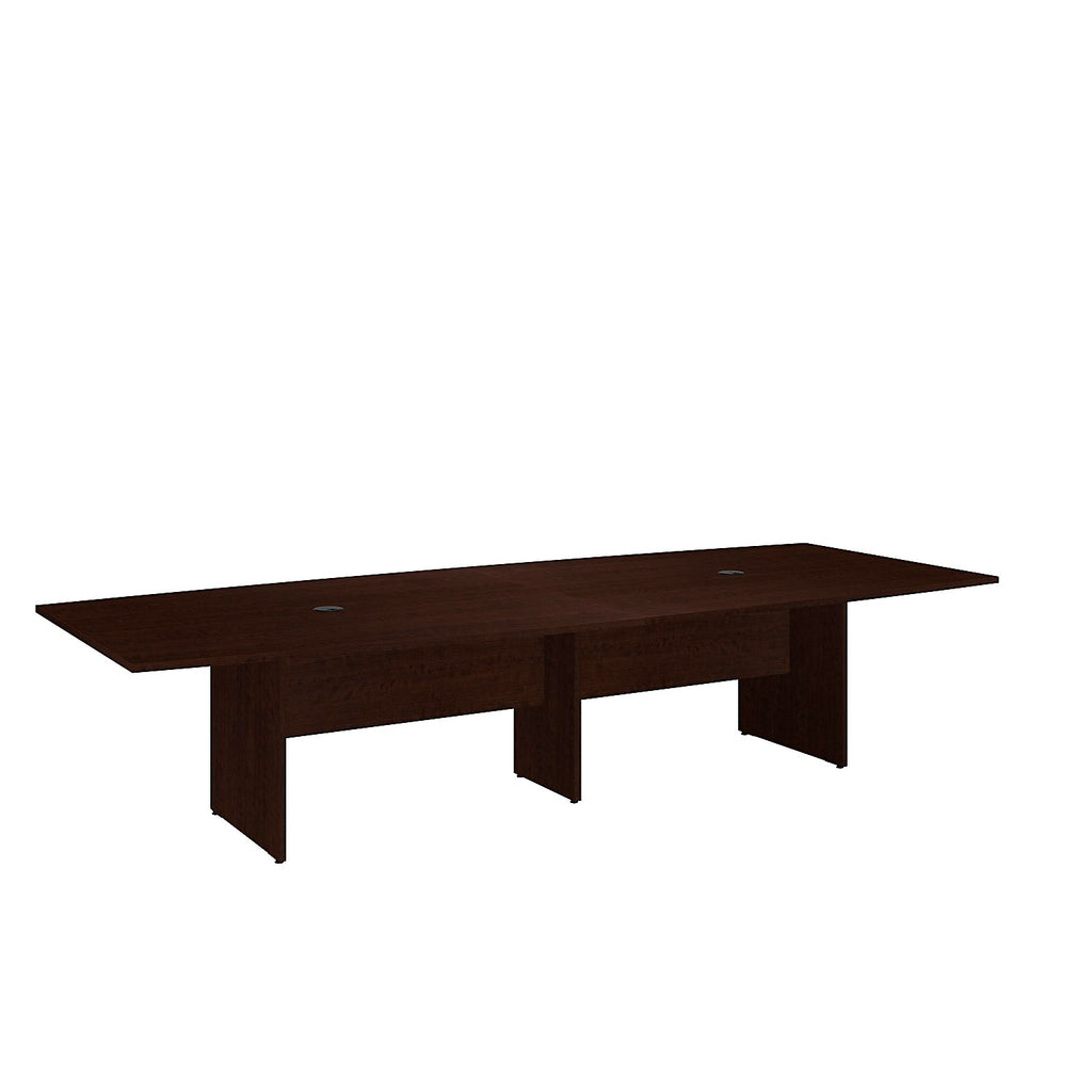 Bush Business Furniture 120L x 48W Boat Top Conference Table with Wood Base in Mocha Cherry ; UPC:042976504984 ; Image 1