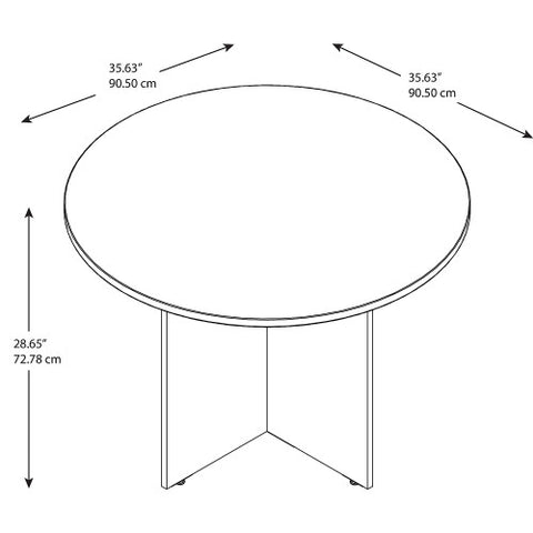 Bush BBF Conference Tables 42W Round Conference Table - Wood Base, Hansen Cherry 99TB42RHC ; UPC: 042976494711 ; Image 2