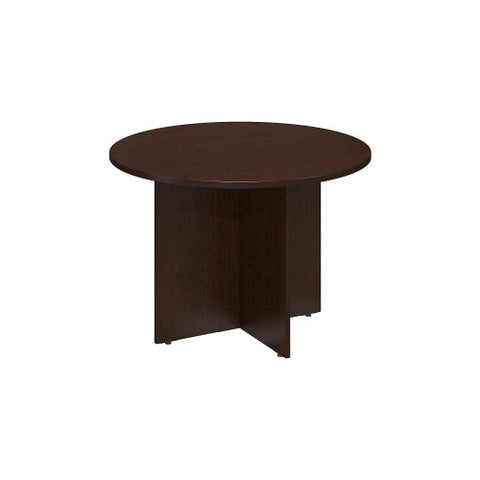 Bush BBF Conference Tables 42W Round Conference Table - Wood Base, Mocha Cherry 99TB42RMR ; UPC: 042976517854 ; Image 1