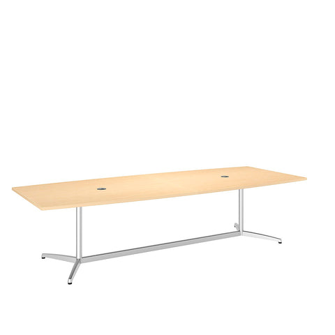 Bush Business Furniture 120L x 48W Boat Top Conference Table with Metal Base in Natural Maple ; UPC:042976528911 ; Image 1