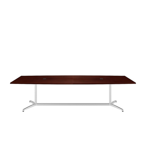 Bush Business Furniture 120L x 48W Boat Top Conference Table with Metal Base in Harvest Cherry ; UPC:042976528935 ; Image 2