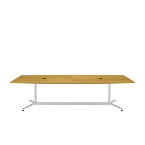 Bush Business Furniture 120L x 48W Boat Top Conference Table with Metal Base in Modern Cherry ; UPC:042976528959 ; Image 2