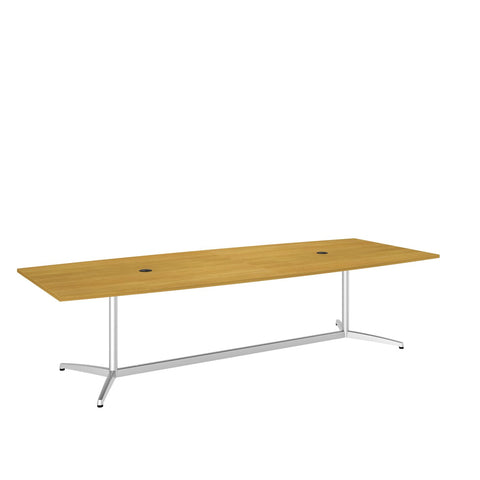 Bush Business Furniture 120L x 48W Boat Top Conference Table with Metal Base in Modern Cherry ; UPC:042976528959 ; Image 1