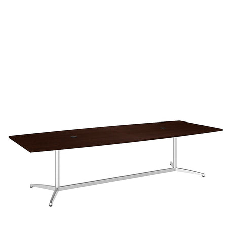 Bush Business Furniture 120L x 48W Boat Top Conference Table with Metal Base in Mocha Cherry ; UPC:042976528973 ; Image 1