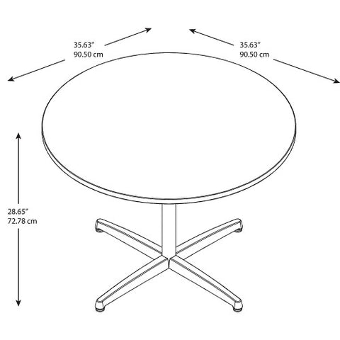 Bush BBF Conference Tables 42W Round Conference Table Kit - Metal X Base, Mocha Cherry 99TBX42RMRSVK ; UPC: 042976529260 ; Image 2