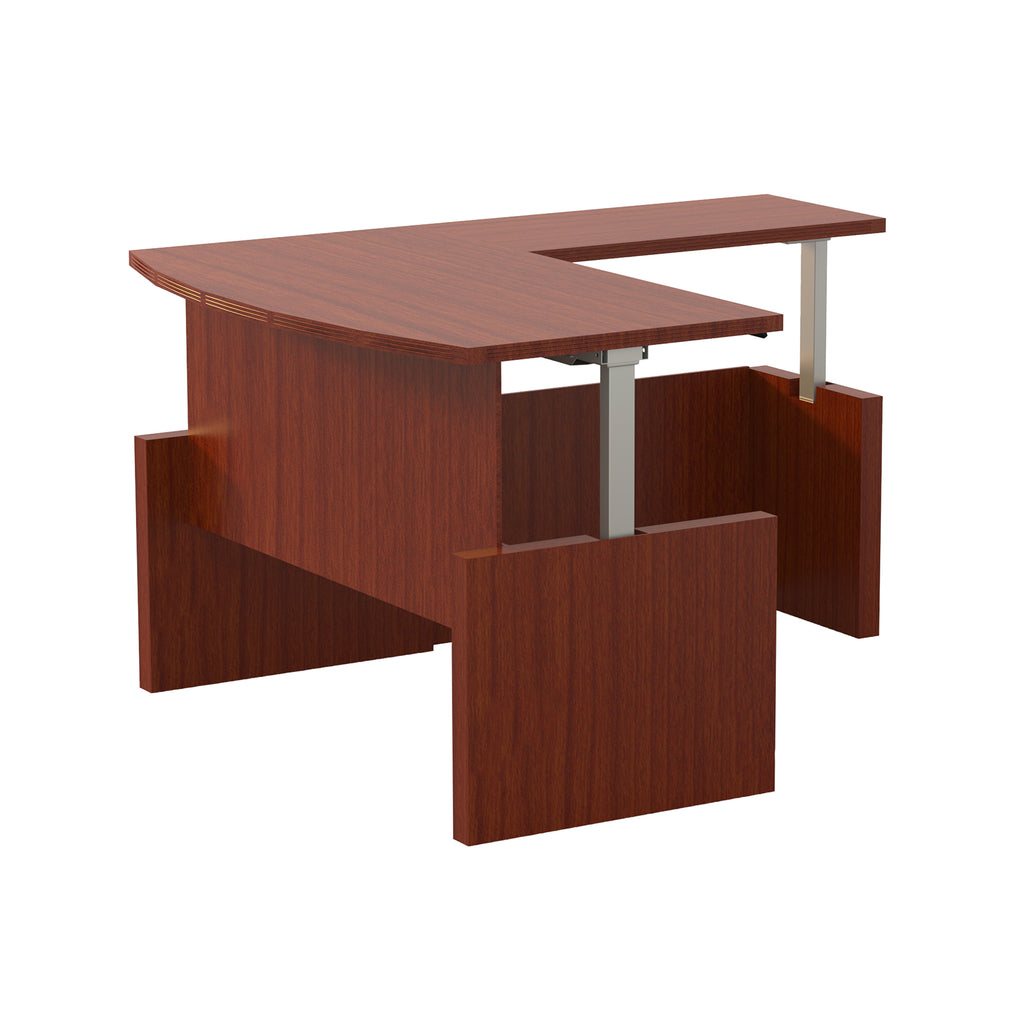 "Safco Products Aberdeen 66"" Height-Adjustable Bow Front Desk with Return AT57LCR(Image 2)"