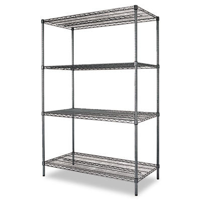 Alera Black Anthracite Wire Shelving Kit ALESW504824BA,  (UPC:042167924386) ; empty shelf view