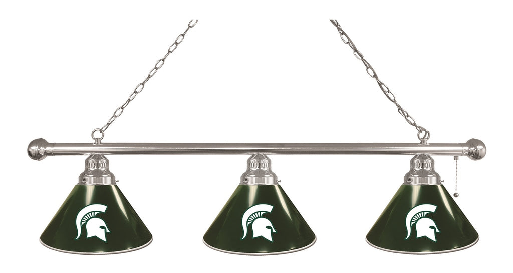 Michigan State 3 Shade Billiard Light with Chrome Fixture by Holland Bar Stool; UPC: 071235693220