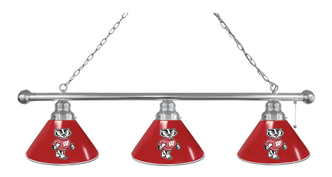 "Wisconsin ""Badger"" 3 Shade Billiard Light with Chrome Fixture by Holland Bar Stool; UPC: 071235693923"