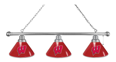 "Wisconsin ""W"" 3 Shade Billiard Light with Chrome Fixture by Holland Bar Stool; UPC: 071235693947"