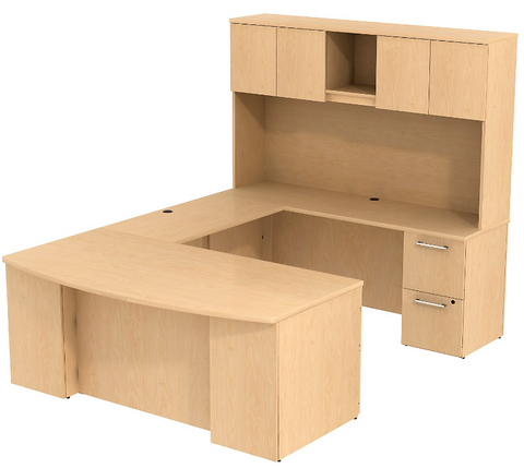 Bush_Bush Realize Series Bow Front U Station Desk with Hutch_Quick Ship / Natural Maple	 - 1