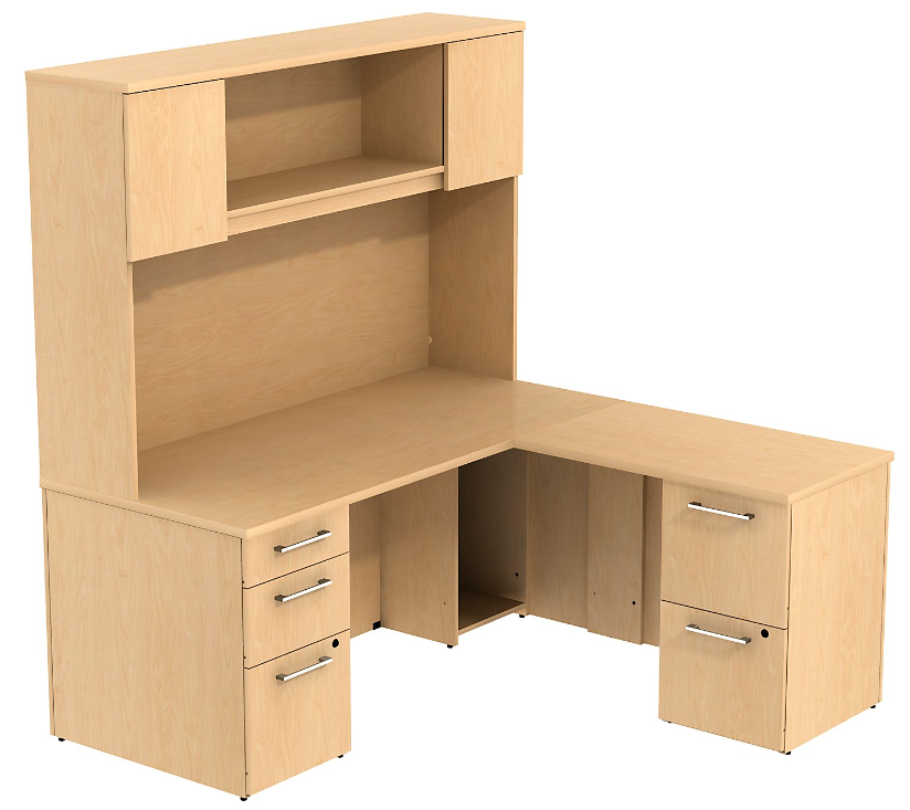 Bush Business Furniture Realize Series LDesk with Pedestals and Hutch in Natural Maple 300S040AC